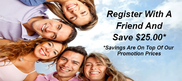 Register with a friend and save